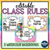 EDITABLE Class Rules with Watercolors