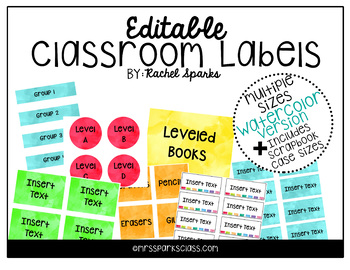 Editable Watercolor Classroom Labels (Includes scrapbook case sizes!)