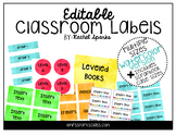 Editable Watercolor Classroom Labels (Includes scrapbook c