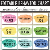 Editable Watercolor Decor - Behavior Chart Editable