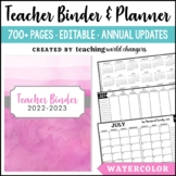 Watercolor Teacher Binder