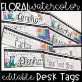Editable Watercolor Floral Desk Tags / Name Plates