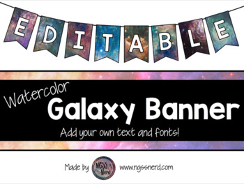 Editable Watercolor Galaxy Banners