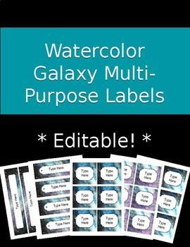 Editable Watercolor Galaxy Multipurpose Labels