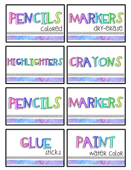Editable Watercolor Labels