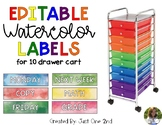 Editable Watercolor Labels for the 10 Drawer Cart