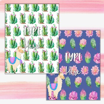 Editable Watercolor Llama and Cactus Binder Covers and Spines