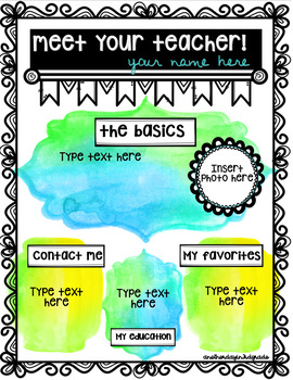 Meet your teacher watercolor FREEBIE