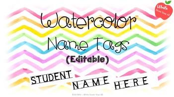Editable Watercolor Name Tags (Chevron)