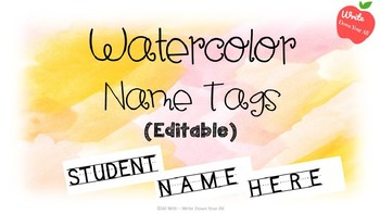 Editable Watercolor Name Tags (Pink and Orange)