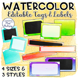 Editable Watercolor Name Tags and Labels