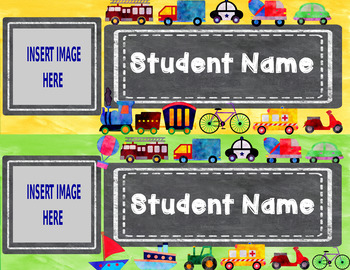 Editable Watercolor Name Tags with Student Pictures (Transportation Theme)