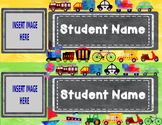 Editable Watercolor Name Tags with Student Pictures (Trans