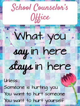Counseling Office: Editable Watercolor Office Signs for Counselors