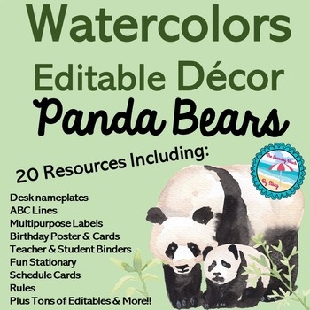 Editable Watercolor Pandas Decor Set 200+ Pages 20 Resources for Back to School