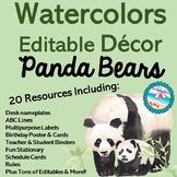 Editable Watercolor Pandas Decor Set 200+ Pages 20 Resourc