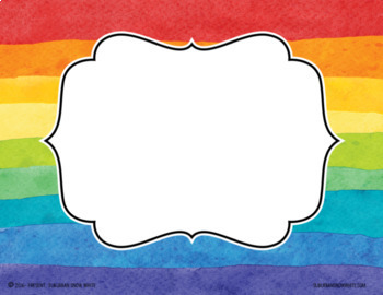 Editable Watercolor Rainbow Tags for Name Tags, Classroom Signs {white}