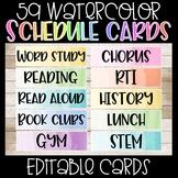 Editable Watercolor Schedule Cards