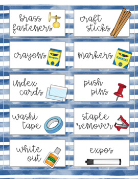 Editable Watercolor Teacher Toolbox Labels with Clip Art