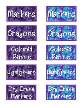 Editable Watercolor Tie-Dye Classroom Labels - Purple, Blue, Green