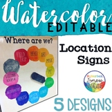 Where Are We Door Signs Editable   Watercolor   Rainbow Cl