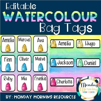 Editable Watercolour Bag Tag Labels