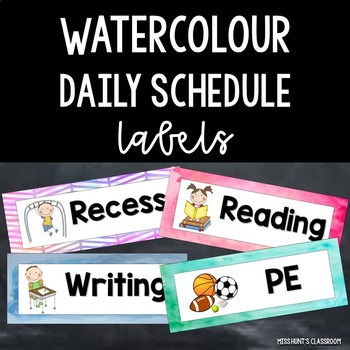 Editable Watercolour Daily Schedule Timetable Cards {Various Subjects}