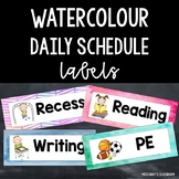 Watercolour Daily Schedule Timetable Cards/Labels {Various