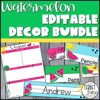 Editable Watermelon Classroom Decor Bundle