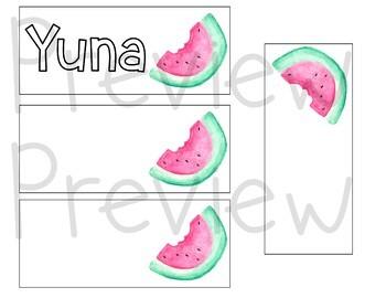 Editable Watermelon Name Tags