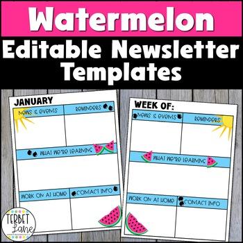 Editable Watermelon Themed Class Newsletter Template