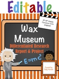 Editable Wax Museum Biography Research 3-5 CCSS Aligned-Differentiated Options
