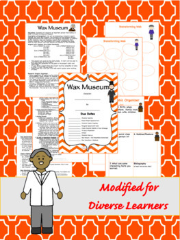 Editable Wax Museum Biography Research 6-8 CCSS Aligned- Differentiated Options