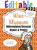 Editable Wax Museum Biography Research 6-8 CCSS Aligned -