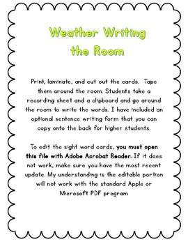 Editable Weather Themed Write the Room