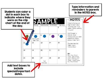 Editable Week Day Calendars July 2017- June 2018 School Year
