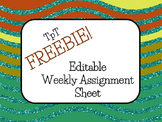 Free & Editable Weekly Assignment Sheet