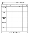 Editable Weekly Assignment Sheet