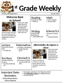 Editable Weekly BILINGUAL Newsletter for Elementary Grades PPT
