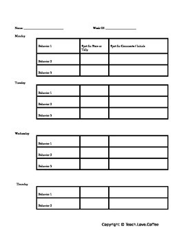 Editable Weekly Behavior Chart