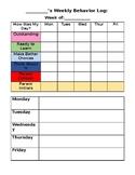 Editable Weekly Behavior Log