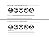 Editable Weekly Behavior Sheets for Parents