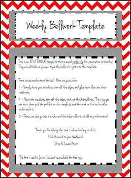 Editable Weekly Bellwork, Bell Ringer, Warmup Template for