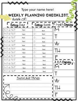 Editable Weekly Checklists