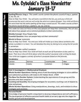Editable Weekly Classroom Newsletter