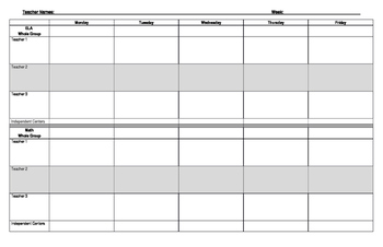 Editable Weekly Classroom Schedule For Small Groups