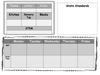 Editable Weekly Early Childhood Lesson Plan