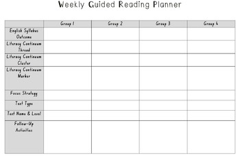 Editable - Weekly Guided Reading Planner - 4 Reading Groups