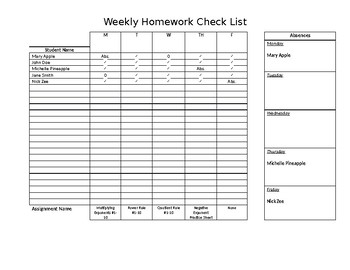 Editable Weekly Homework Checklist