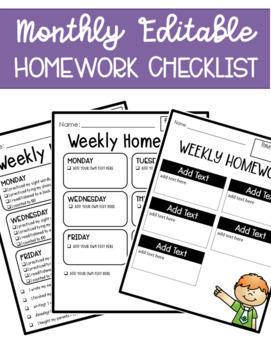 Editable Weekly Homework Checklist For the Whole Year